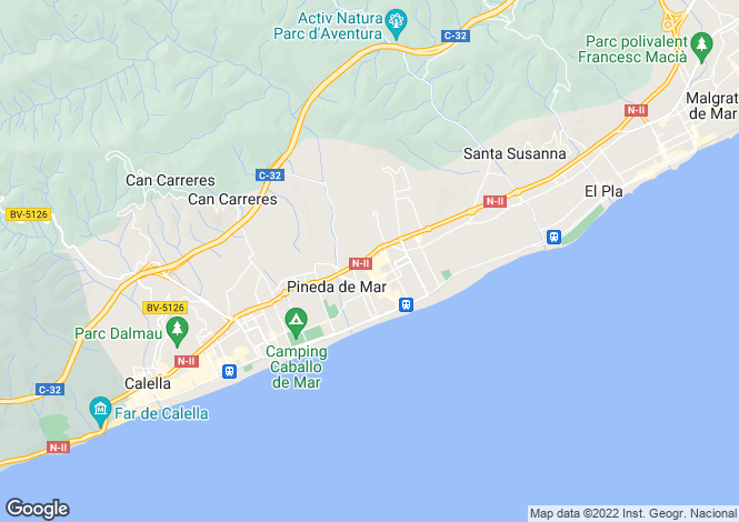 Map for Pineda de Mar, Barcelona, Catalonia