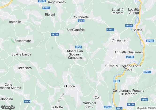 Map for Lazio, Frosinone, Monte San Giovanni Campano