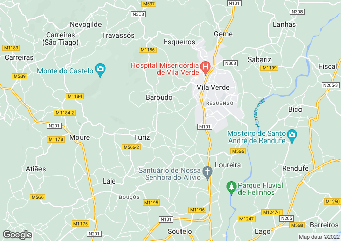 Map for Portugal,Braga,Turiz