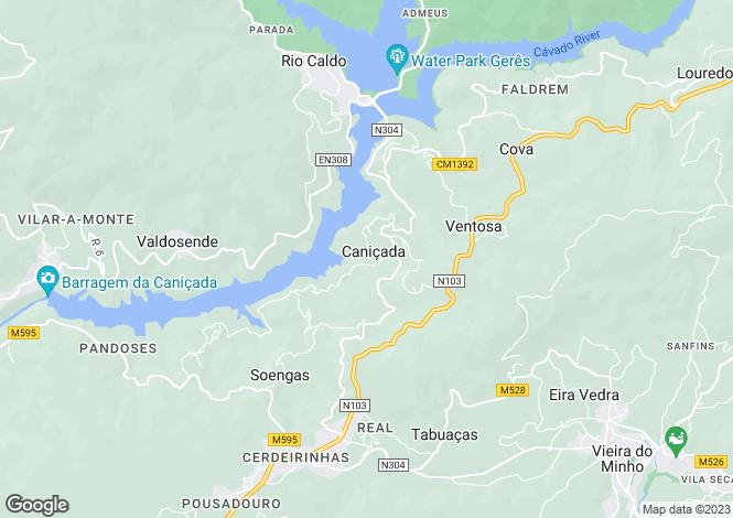 Map for Caniçada e Soengas, Vieira do Minho, Braga