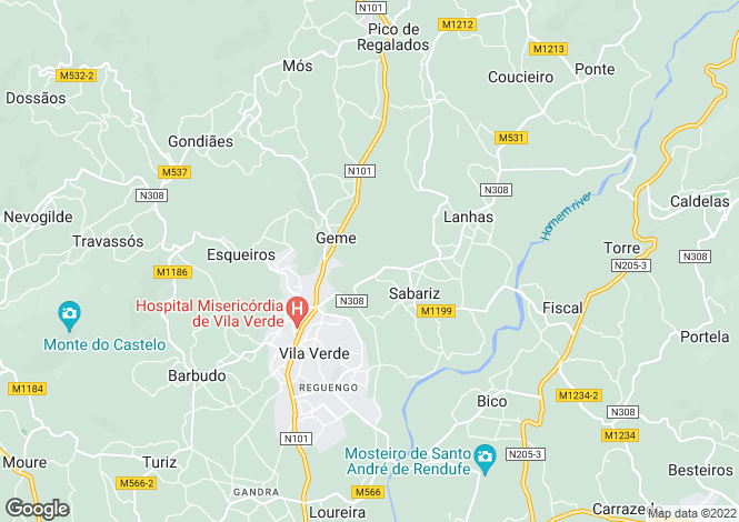 Map for Portugal,Braga,Vila Verde