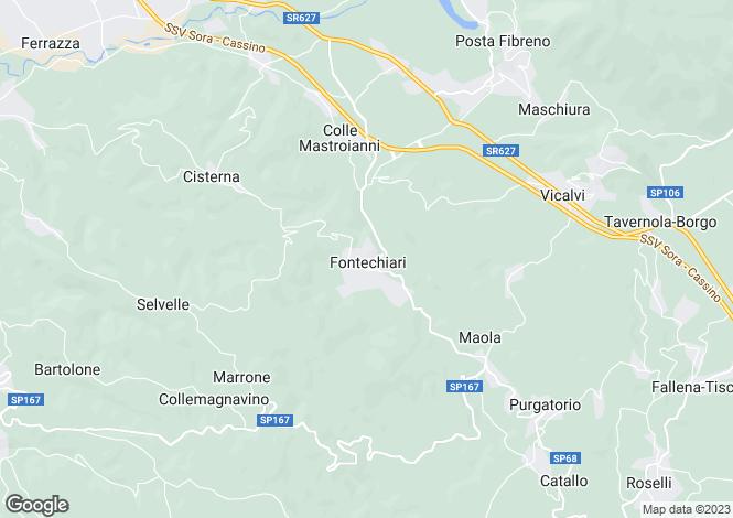 Map for Lazio, Frosinone, Vicalvi