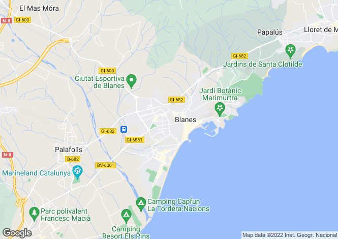 Map for Spain, Costa Brava, Blanes, CBR7339