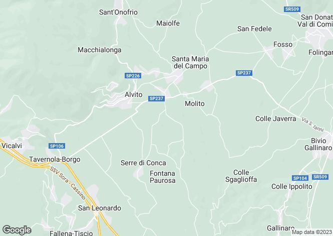 Map for Alvito, Frosinone, Lazio