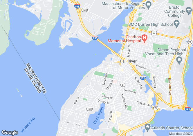 Map for USA - Massachusetts, Bristol County, Fall River