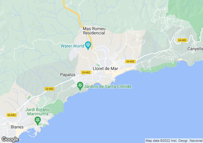 Map for Catalonia, Girona, Lloret de Mar