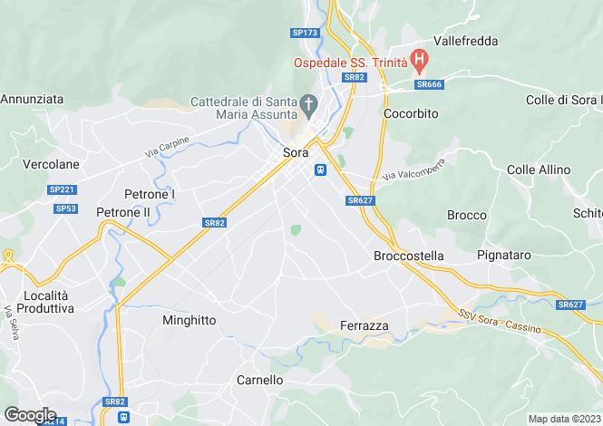 Map for Lazio, Frosinone, Sora