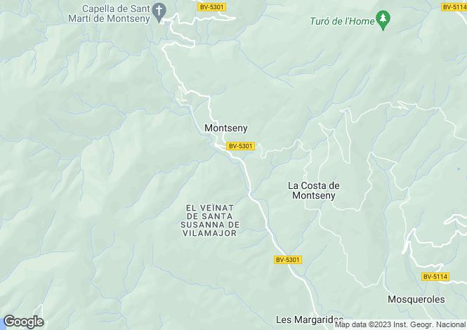 Map for Catalonia, Barcelona, Montseny