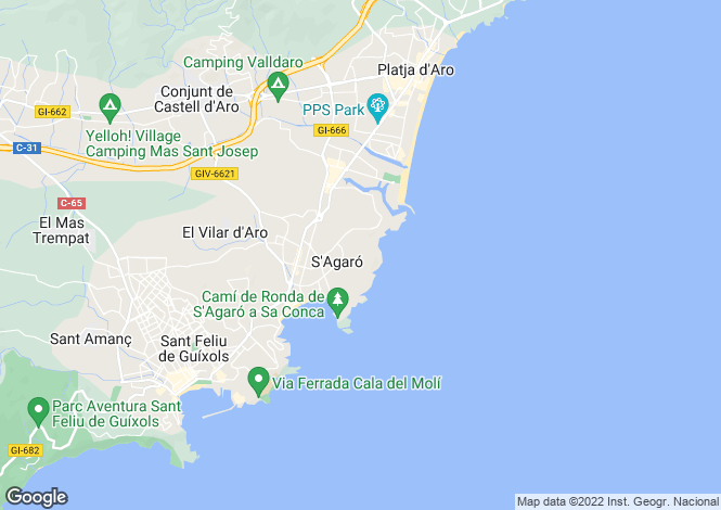 Map for S´AGARÓ, COSTA BRAVA, SPAIN