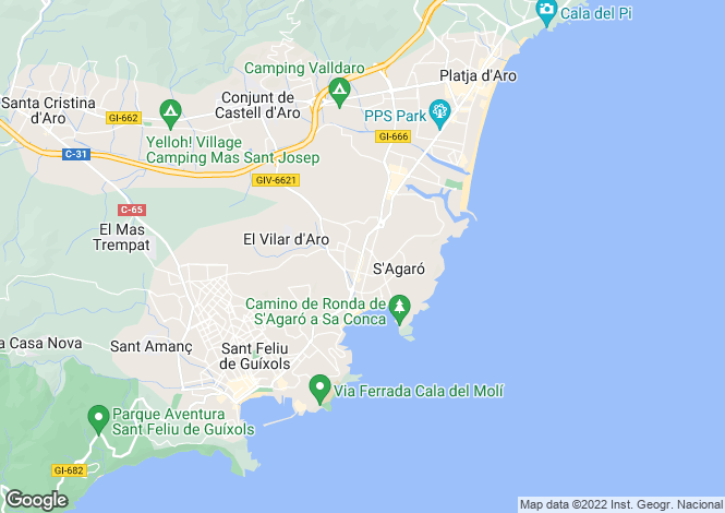 Map for Catalonia, Girona, S`Agaro