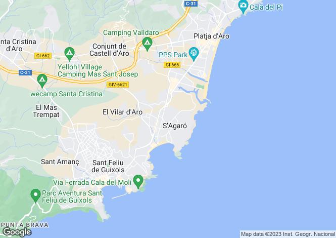 Map for Catalonia, Girona, S`Agaro