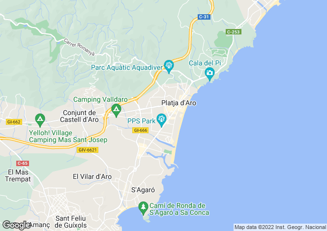 Map for Platja d`Aro, Girona, Catalonia