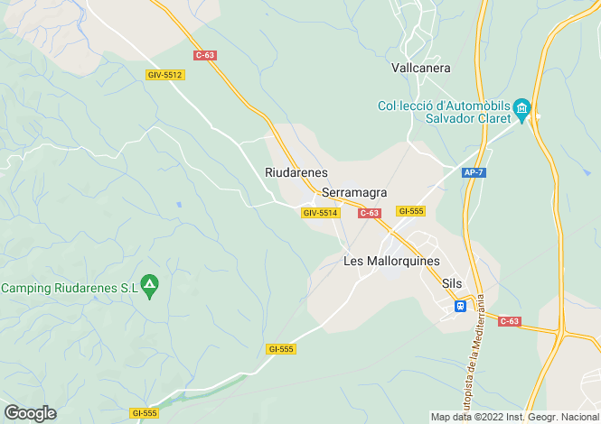 Map for Riudarenes, Girona, Catalonia