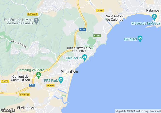 Map for Catalonia, Girona, Platja d`Aro