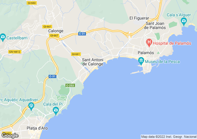 Map for St. Antoni De Calonge, Girona, Catalonia