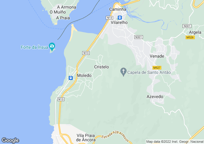 Map for Minho, Moledo