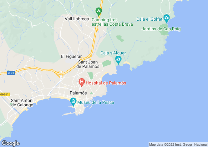 Map for Catalonia, Girona, Palamós