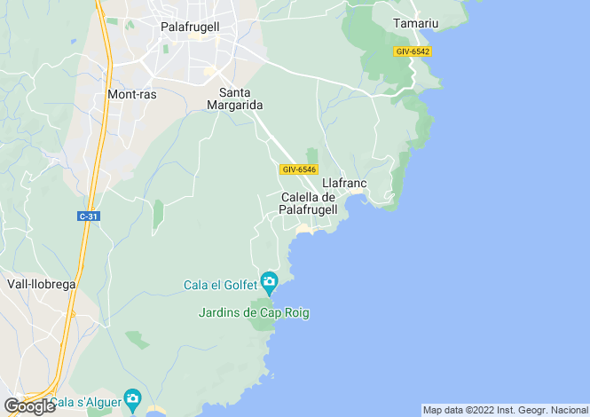 Map for Catalonia, Girona, Calella De Palafrugell