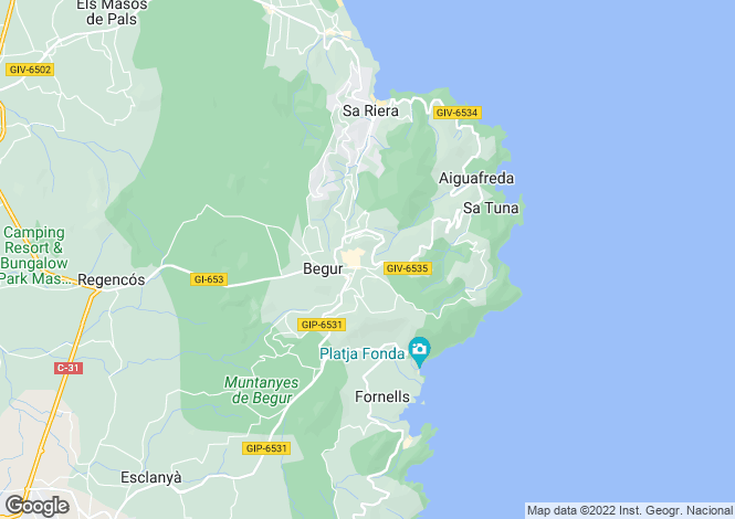 Map for BEGUR, COSTA BRAVA, SPAIN