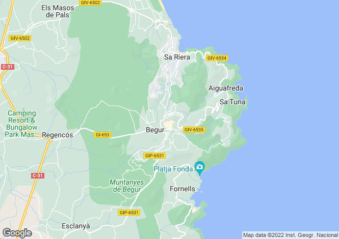 Map for Catalonia, Girona, Begur