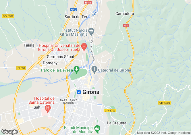 Map for Montjuic, Girona, Spain