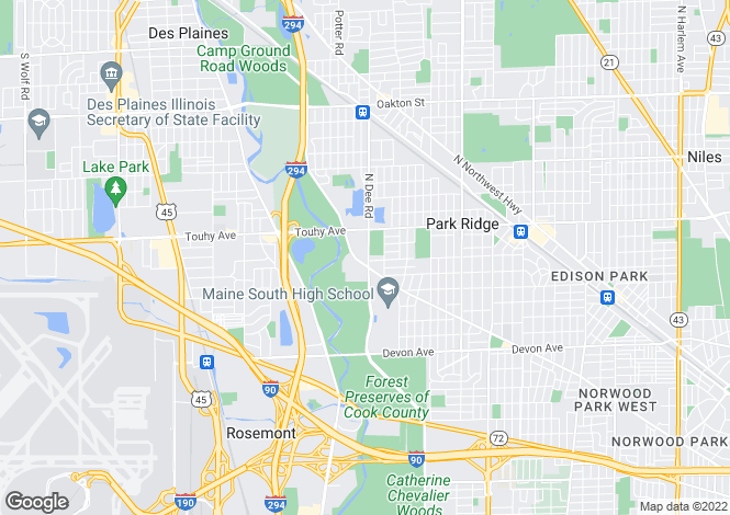 Map for USA - Illinois, Cook County, Park Ridge