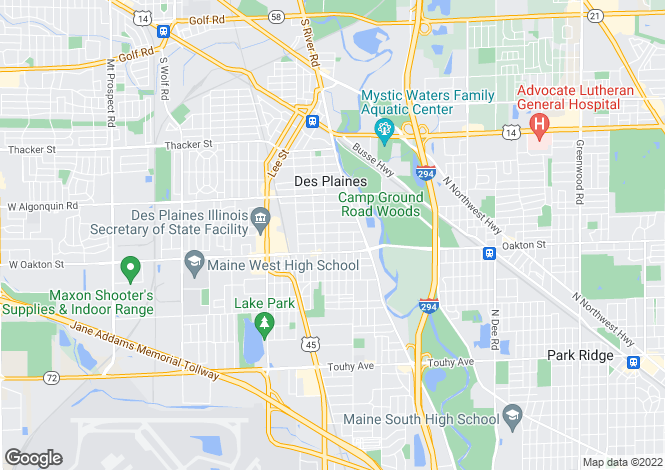 Map for USA - Illinois, Cook County, Des Plaines