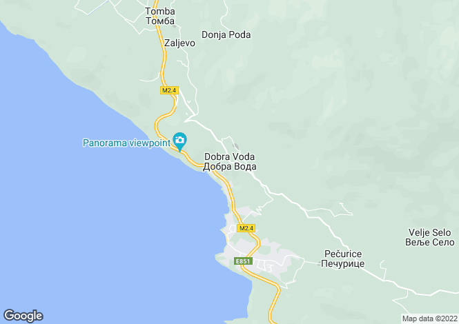 Map for Dobre Vode, Bar Riviera, Montenegro