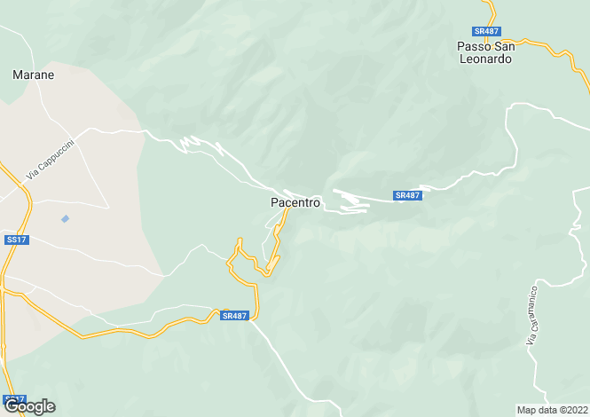 Map for Abruzzo, Laquila, Pacentro