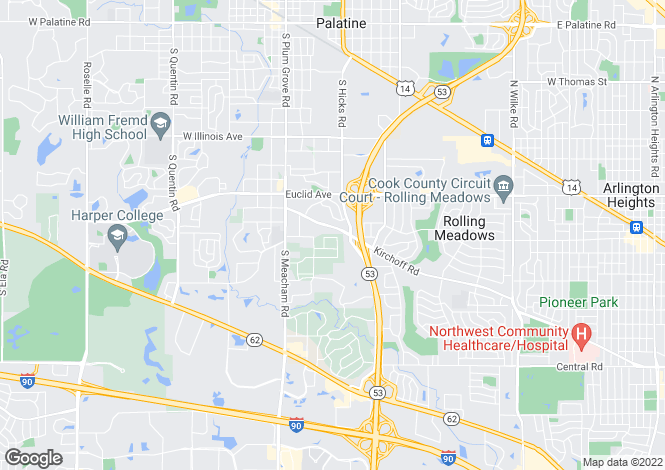 Map for USA - Illinois, Cook County, Palatine