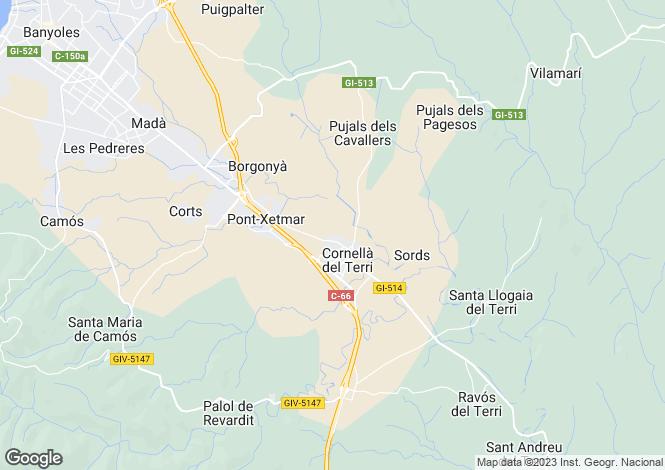 Map for Catalonia, Girona, Cornellà de Terri