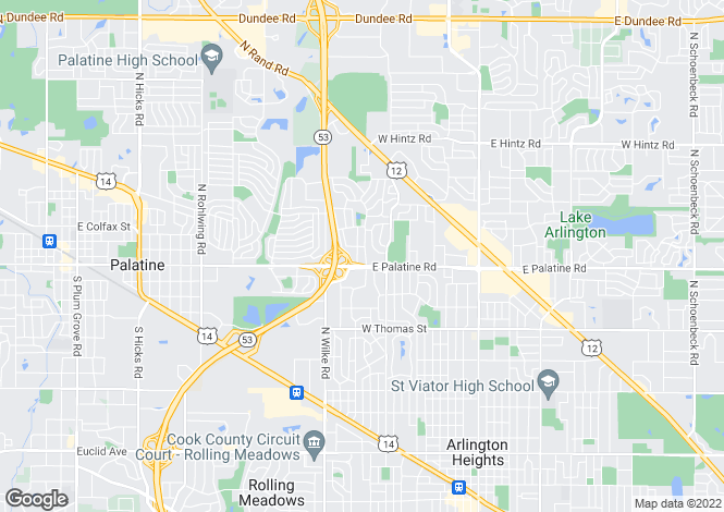 Map for USA - Illinois, Cook County, Arlington Heights