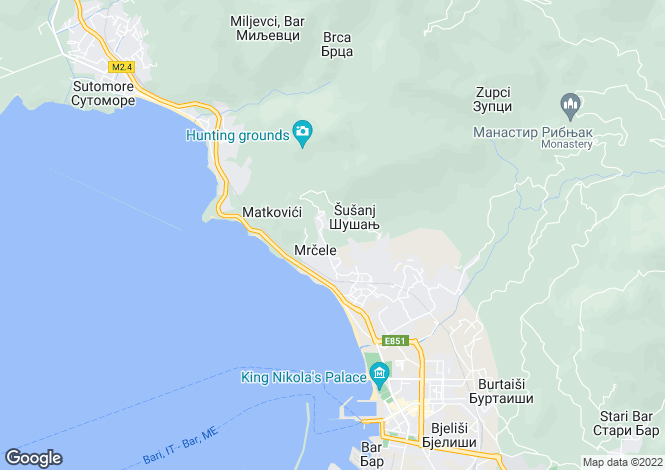 Map for Vitici, Bar Riviera, Montenegro