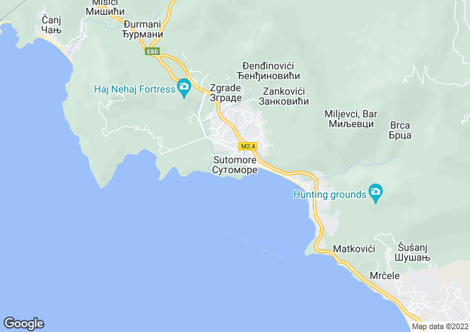 Map for Villa Solaris, Sutomore, Bar Riviera, Montenegro