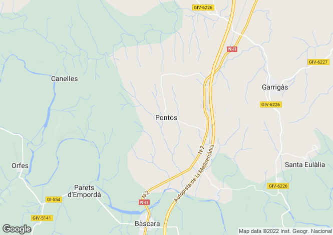 Map for Catalonia, Girona, Pontos