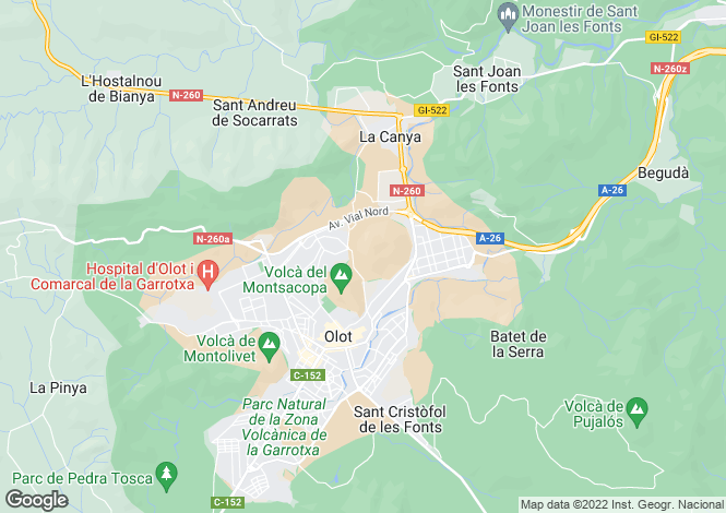 Map for Olot, Girona, Spain