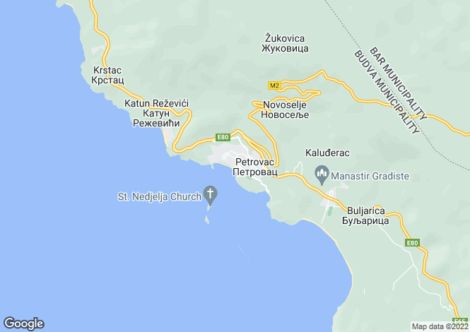 Map for Petrovac, Budva Riviera, Budva
