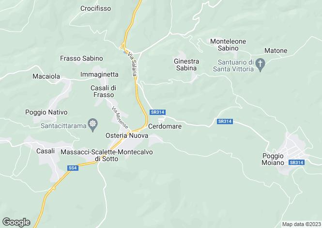 Map for Italy - Lazio, Rieti, Monteleone Sabino
