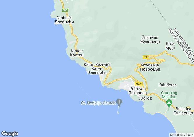 Map for Rezevici, Budva, Montenegro