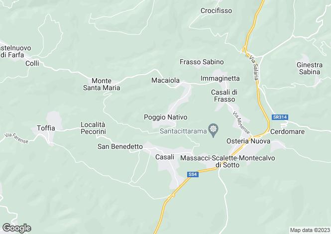 Map for Lazio, Rieti, Poggio Nativo