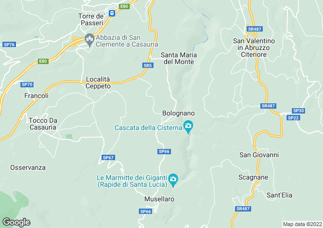Map for Abruzzo, Pescara, Bolognano