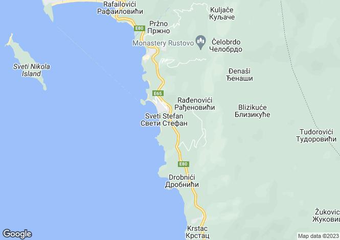 Map for Sveti Stefan, Near Budva, Montenegro