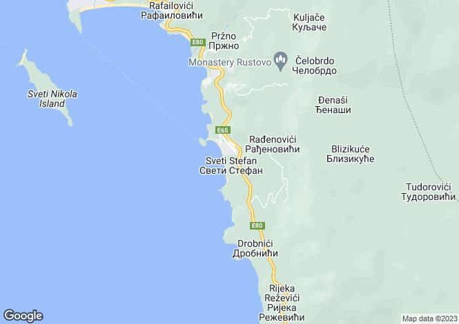Map for Crvena Glavica, Sv. Stefan, Budva
