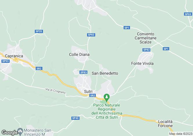 Map for Lazio, Viterbo, Sutri