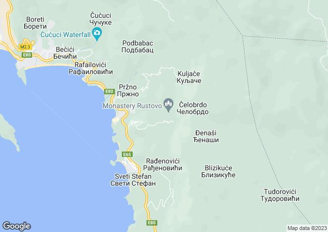 Map for Sveti Stefan, Budva, Montenegro