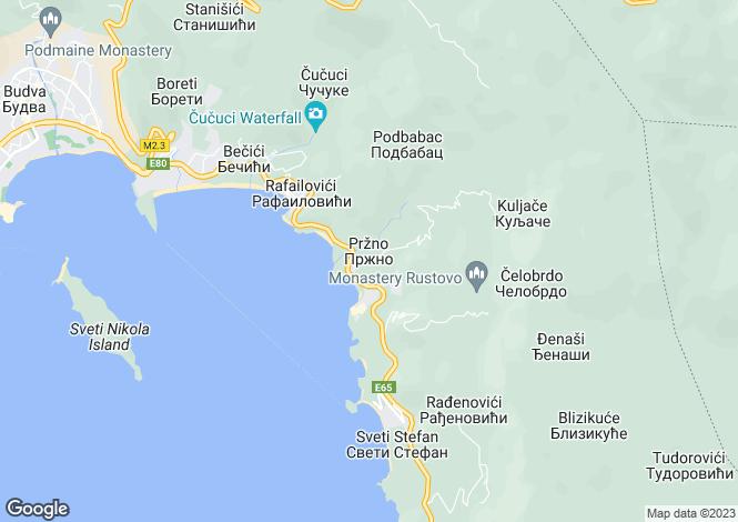 Map for Przno, Near Budva, Montenegro