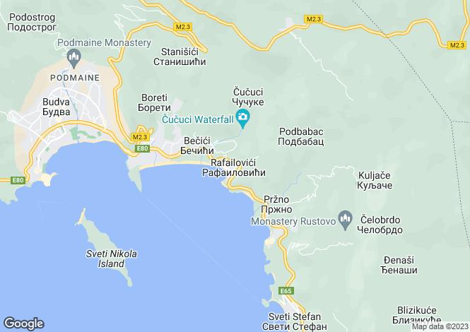Map for Rafailovici, Near Budva, Montenegro