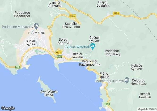 Map for Luxury Spacious Villa With Pool, Becici, Budva, Montenegro
