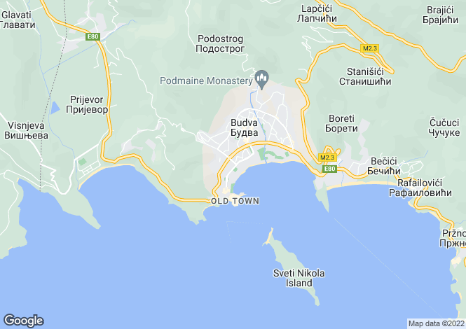 Map for Budva