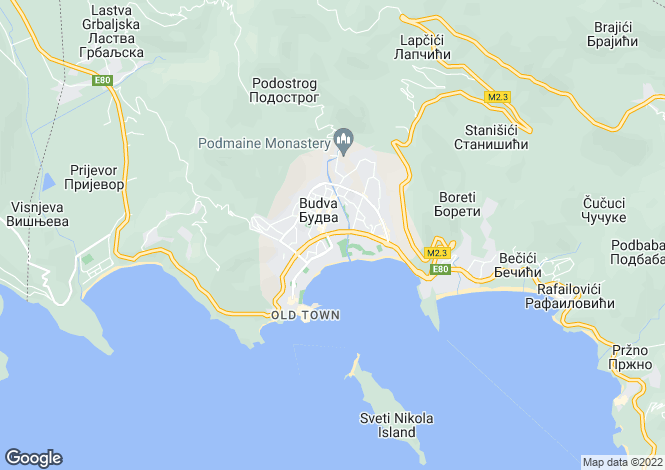 Map for Becici, Budva, Montenegro